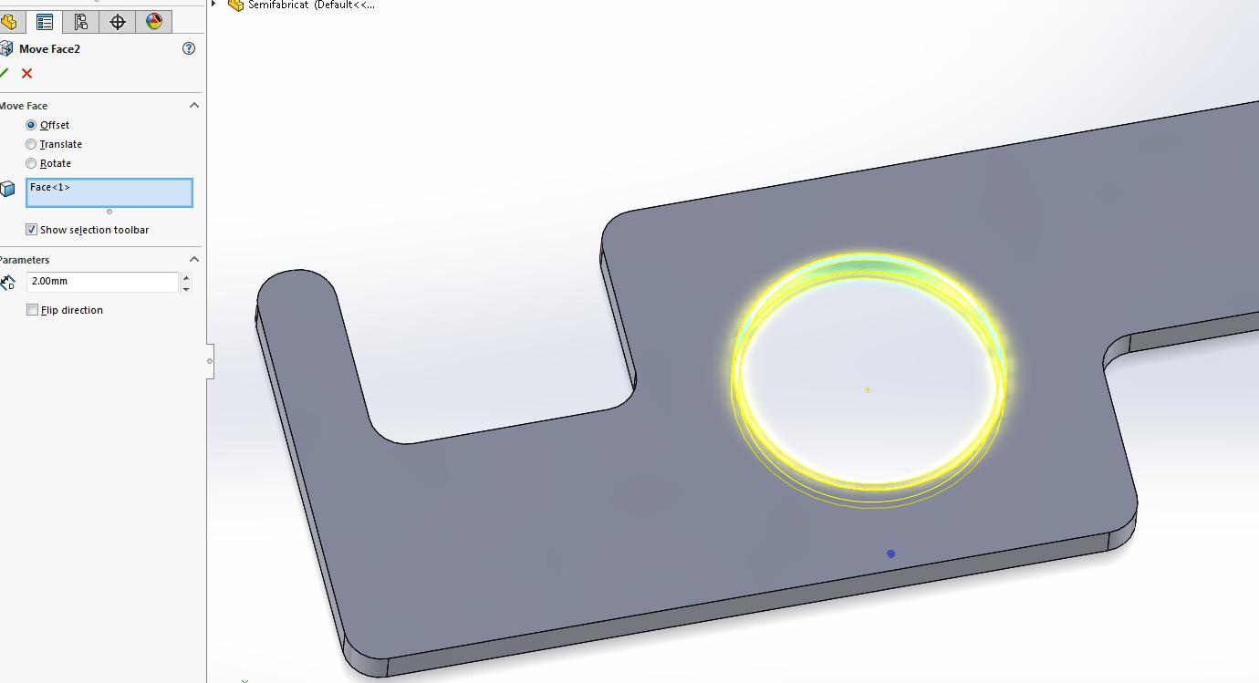 Prelucrarea pieselor în SOLIDWORKS CAM folosind ca semifabricat un fișier SOLIDWORKS