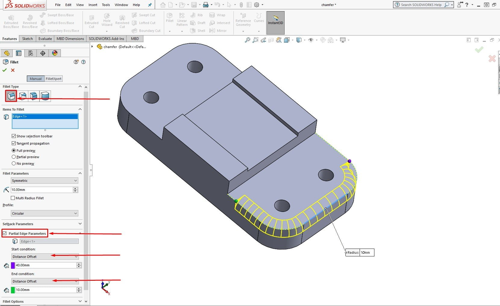 solidworks 2019 partial fillet chamfer2