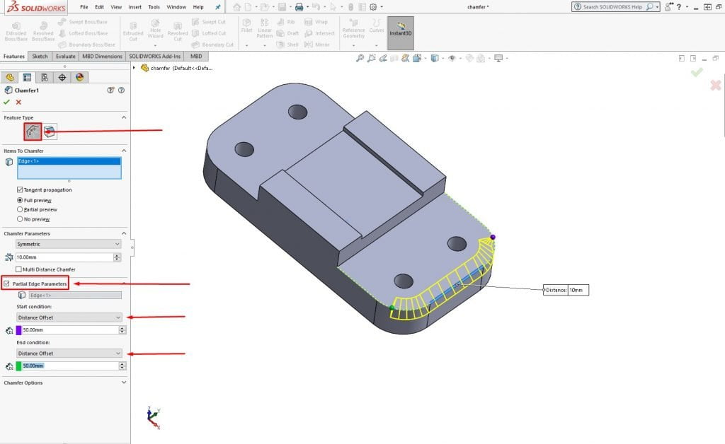 solidworks 2019 partial fillet chamfer1